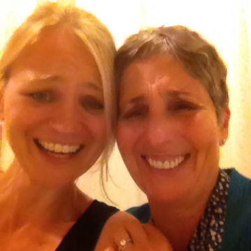 Kidding around in the dressing rooms with Loni Ackerman